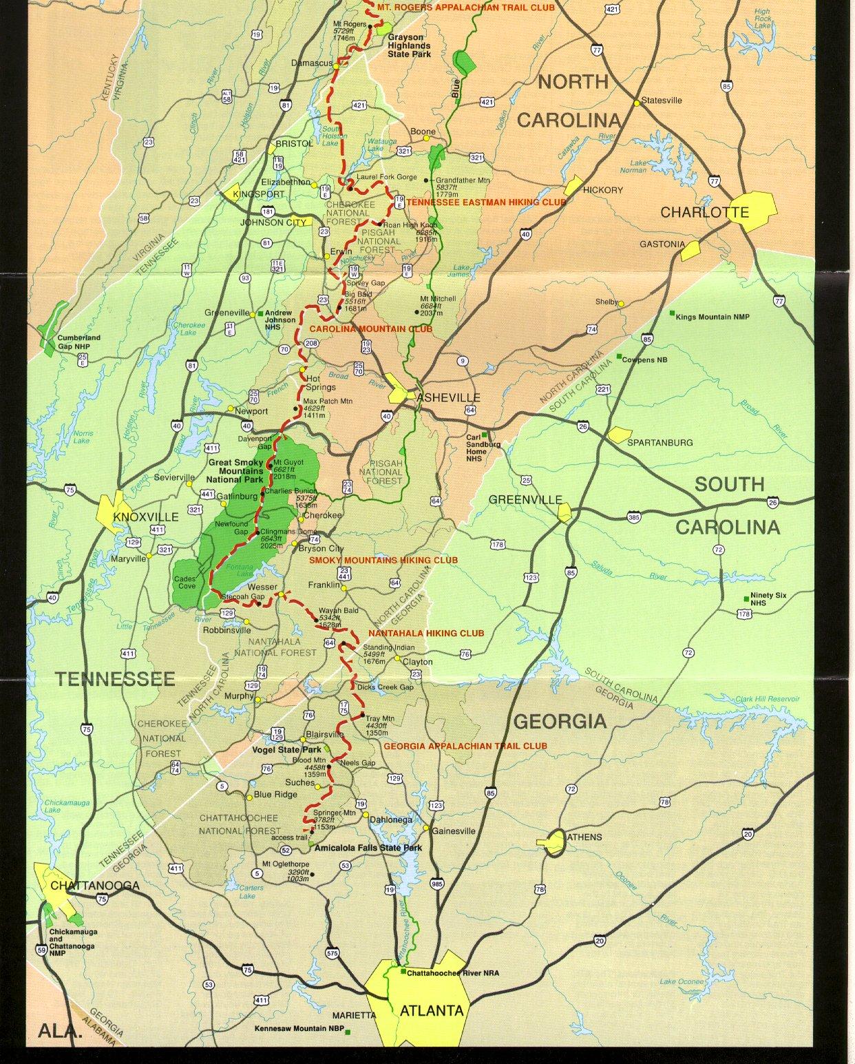 Appalachian Trail In Georgia Map.Appalachian Trail